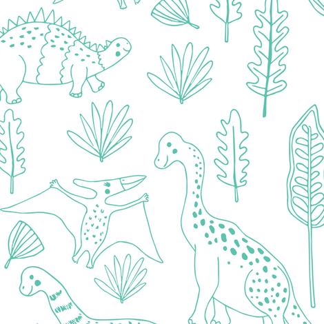 Little Dinosaur Outlines, Jumbo fabric by jacquelinehurd on Spoonflower - custom fabric