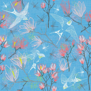 Swallows & Magnolias (summer sky)