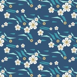 Hawaiian Floral on Waves in Blue and Yellow