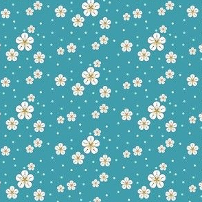 Teal and Yellow Small Flower and Dot Print