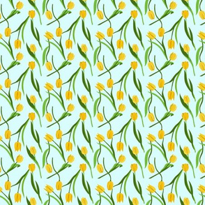Small yellow tulips on blue