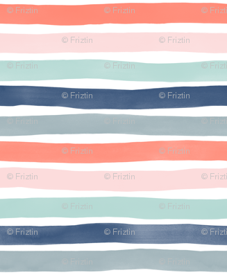 Watercolor Stripes M+M Multi Coral Blues by Friztin