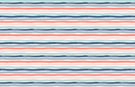 Watercolor Stripes M+M Multi Coral Blues by Friztin fabric by friztin on Spoonflower - custom fabric