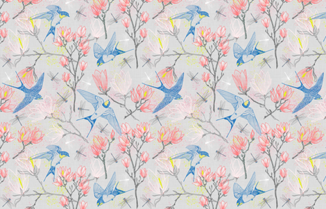 Swallows & Magnolias (silver) large scale fabric by helenpdesigns on Spoonflower - custom fabric