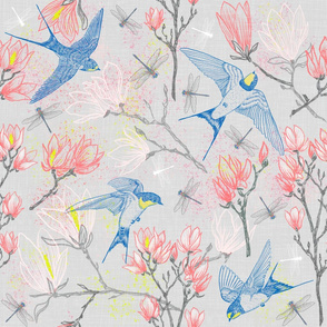 Swallows & Magnolias (silver) large scale
