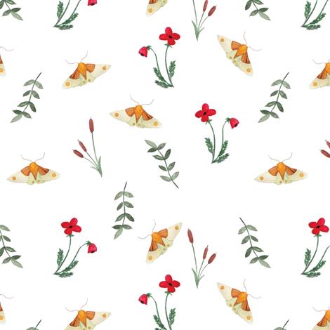 Moth and Flora fabric by carlyelizabethowens on Spoonflower - custom fabric
