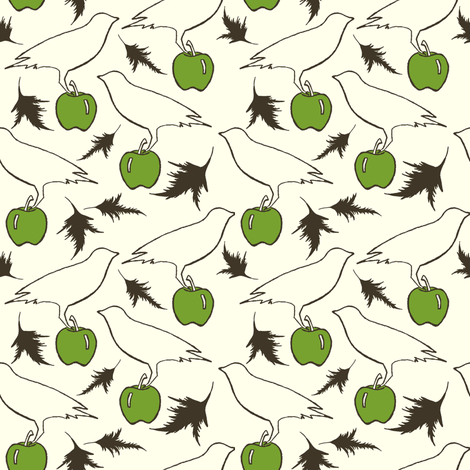 Crow and Apple fabric by carrie_narducci on Spoonflower - custom fabric