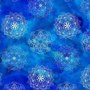 Mandalas on Blue Watercolor