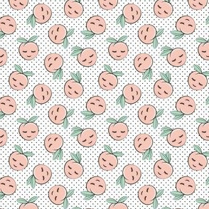 (micro scale) happy peaches - black polka dots c18bs