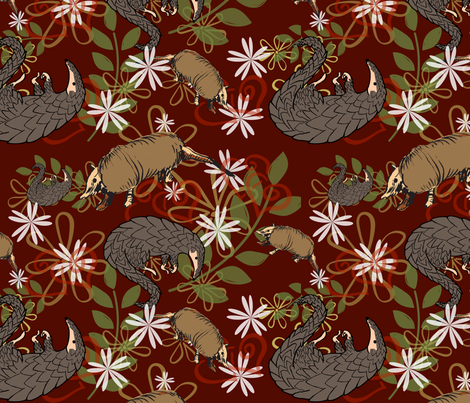 Pangolins and Armadillos fabric by sunflowerfields on Spoonflower - custom fabric