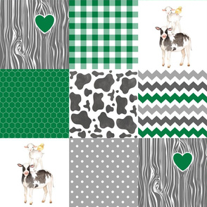Farm//Love you till the cows come home - Green - Wholecloth Cheater Quilt