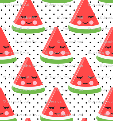 (micro scale) happy watermelon - red on black polka dots C18BS