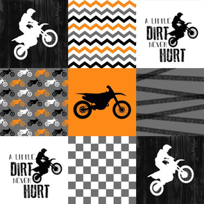 Motocross//A little dirt never hurt - Orange Wholecloth cheater quilt