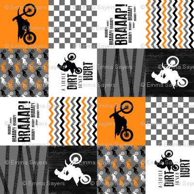 Motocross//A little dirt never hurt - Orange - Wholecloth Cheater Quilt - Rotated