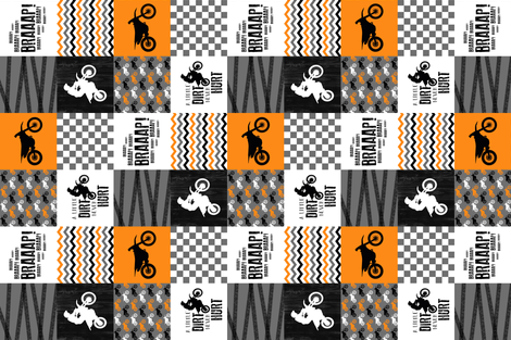 Motocross//A little dirt never hurt - Orange - Wholecloth Cheater Quilt - Rotated fabric by longdogcustomdesigns on Spoonflower - custom fabric