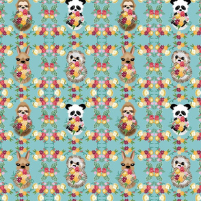 Animals on Land, Teal, Small Scale, Hedgie, Llama, Panda, Sloth, baby animals