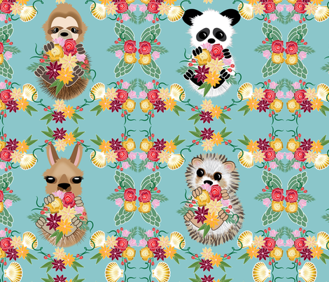 Animals on Land, Hedgie, Llama, Panda, Sloth Teal Lg scale fabric by applebutterpattycake on Spoonflower - custom fabric