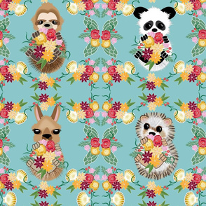 Animals on Land, Hedgie, Llama, Panda, Sloth Teal Lg scale