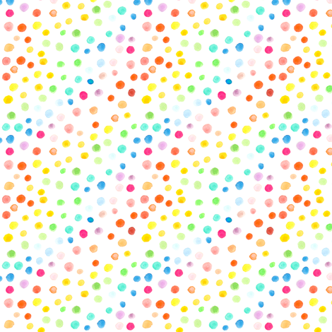 Rainbow watercolour dots - smaller scale fabric by emeryallardsmith on Spoonflower - custom fabric