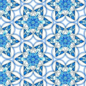 large snowflake hexagons in blue