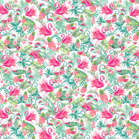 Tropical Summer on White Extra Small fabric by gingerlique on Spoonflower - custom fabric