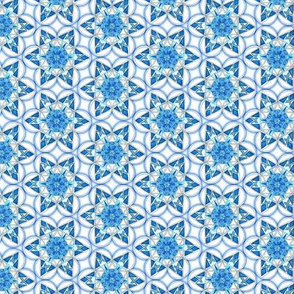 small snowflake hexagons in blue