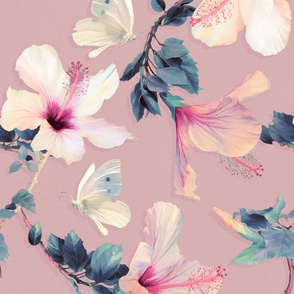 Butterflies and Hibiscus Flowers in vintage pink - large print