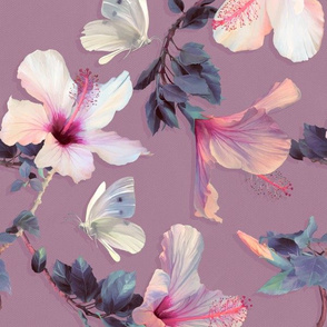 Butterflies and Hibiscus Flowers in Soft Plum - large print