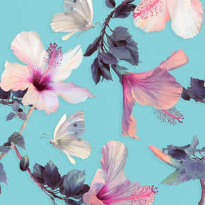 Butterflies and Hibiscus Flowers on Blue - large print