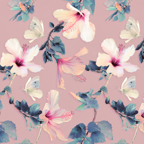 Butterflies and Hibiscus Flowers on vintage pink - small print fabric by micklyn on Spoonflower - custom fabric