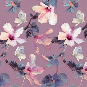 Butterflies and Hibiscus Flowers on soft plum - small print