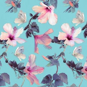 Butterflies and Hibiscus Flowers on blue - small print