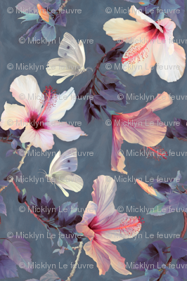 Butterflies and Hibiscus Flowers - a painted pattern - small print