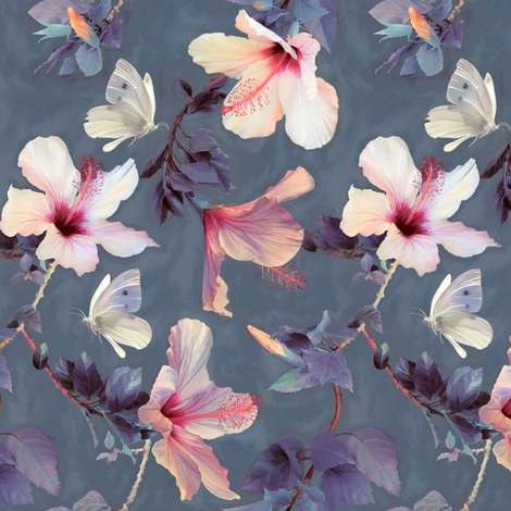 Butterflies and Hibiscus Flowers - a painted pattern - small print fabric by micklyn on Spoonflower - custom fabric