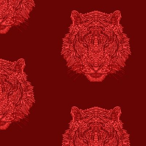 Dark Red TIger - Complicated Coloring Pattern