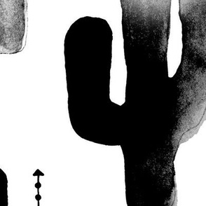 Black and white watercolors ink cactus garden gender neutral geometric arrows cowboy theme jumbo