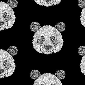 Black and White Panda Pattern - Complicated Coloring