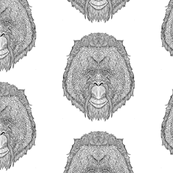 Orangutan Pattern Black line on White - Complicated Coloring