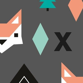 Geometric fox and pine tree illustration pattern jumbo