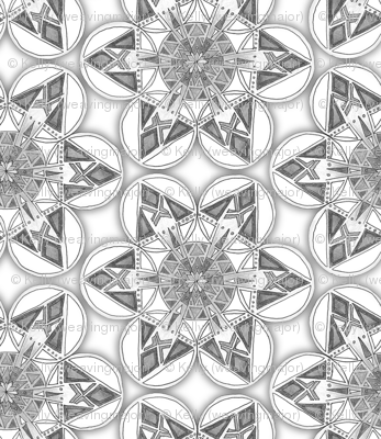 small snowflake hexagons in greyscale