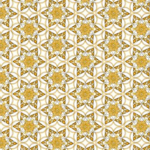 small snowflake hexagons in gold