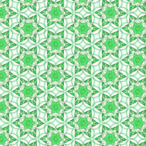 small snowflake hexagons in green