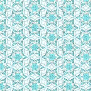 small snowflake hexagons in aqua