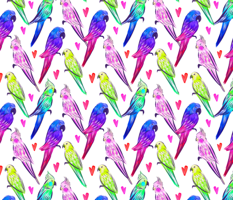 Parrot`s Love fabric by maryna_r on Spoonflower - custom fabric