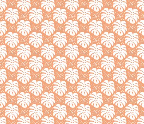 Modern Monstera on Orange fabric by thewellingtonboot on Spoonflower - custom fabric