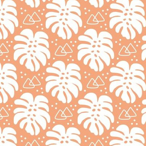 Modern Monstera on Orange
