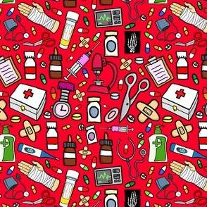 Nurse Stuff Pattern - Red Background