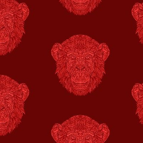 Dark Red Chimpanzee Pattern