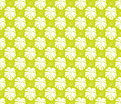 Modern Monstera on Fresh Lime fabric by thewellingtonboot on Spoonflower - custom fabric
