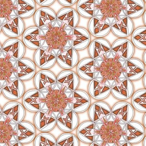 large snowflake hexagons in brown